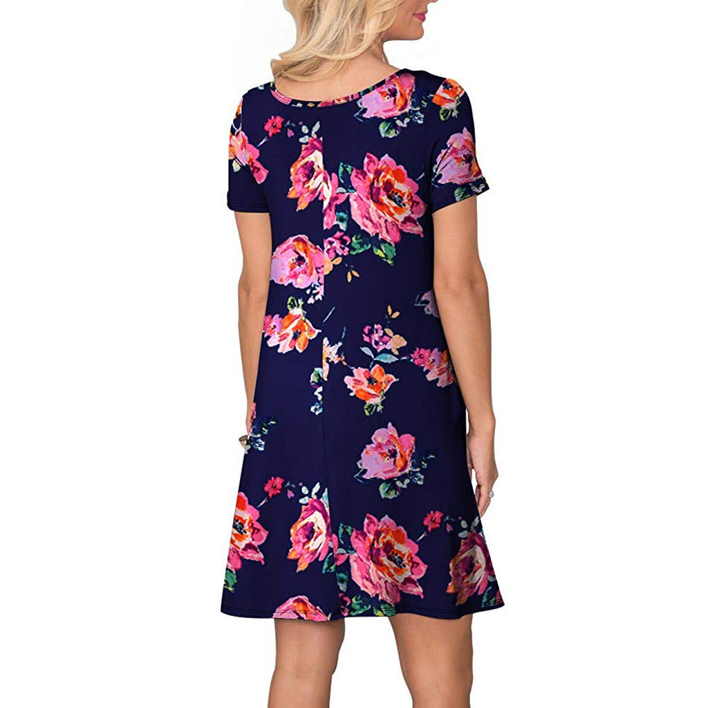 Cloudro Dress Summer Short Sleeve Floral Printed Pockets Sundress Casual Swing Dress