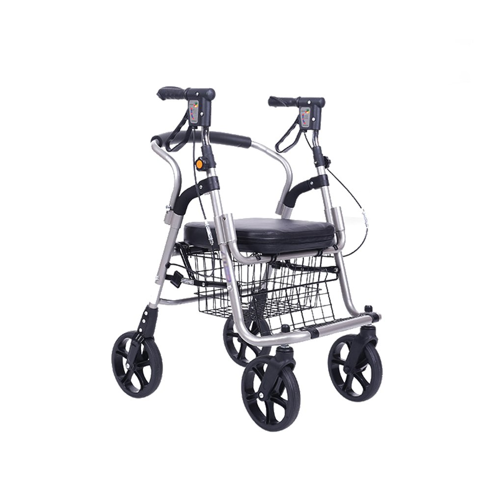 QING MEI 折りたたみ式および高さ調整可能な4輪ポータブルショッピングカート、高齢者、患者、歩行障害者、食料品の買い物カゴ A+   B07NSXH9MF