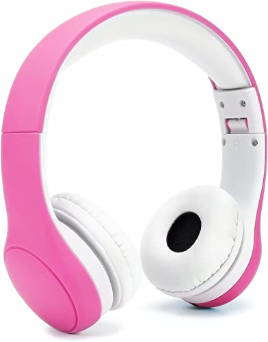 Volume Limited KPTEC Kids Safety Foldable On-Ear Headphones with Mic, Volume Controlled at Max 93dB to Prevent Noise-induced Hearing Loss NIHL , Passive Noise Reduction, Wired Earbuds,Pink