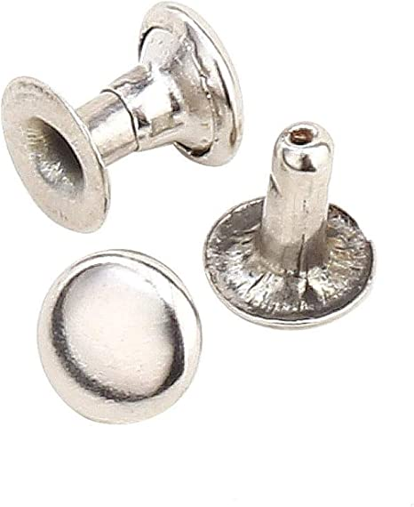 Leather Rivets Single Round Cap Metal Stud Fasteners for Bag Belt Wallet Jeans 7mm Rivets Kit Dies and Hole Punch with Hand Press Machine 1000 pcs