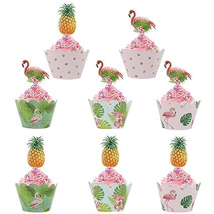 Bdecoll 24 piezas Decoraciones De Flamenco/Flamenco Cupcakes Moldes Papel Wrapper Conjunto (Flamenco Cupcakes