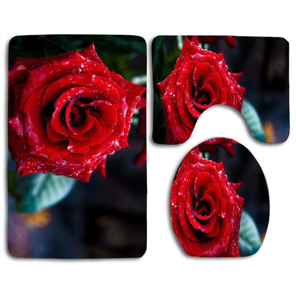 Bath Mat Sets Red Rose Macro Shoot Contour Rug U-Shaped Toilet Lid Cover,Non Slip,Machine Washable,3-Piece Rug Set Easier to Dry for Bathroom