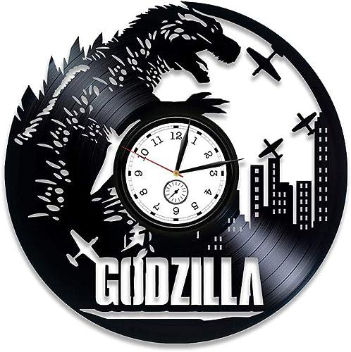 Kovides Godzilla Wall Clock Modern Godzilla Vinyl Wall Clock Godzilla Clock Godzilla Vinyl Clock Godzilla Vinyl Record Wall Clock Godzilla Gift