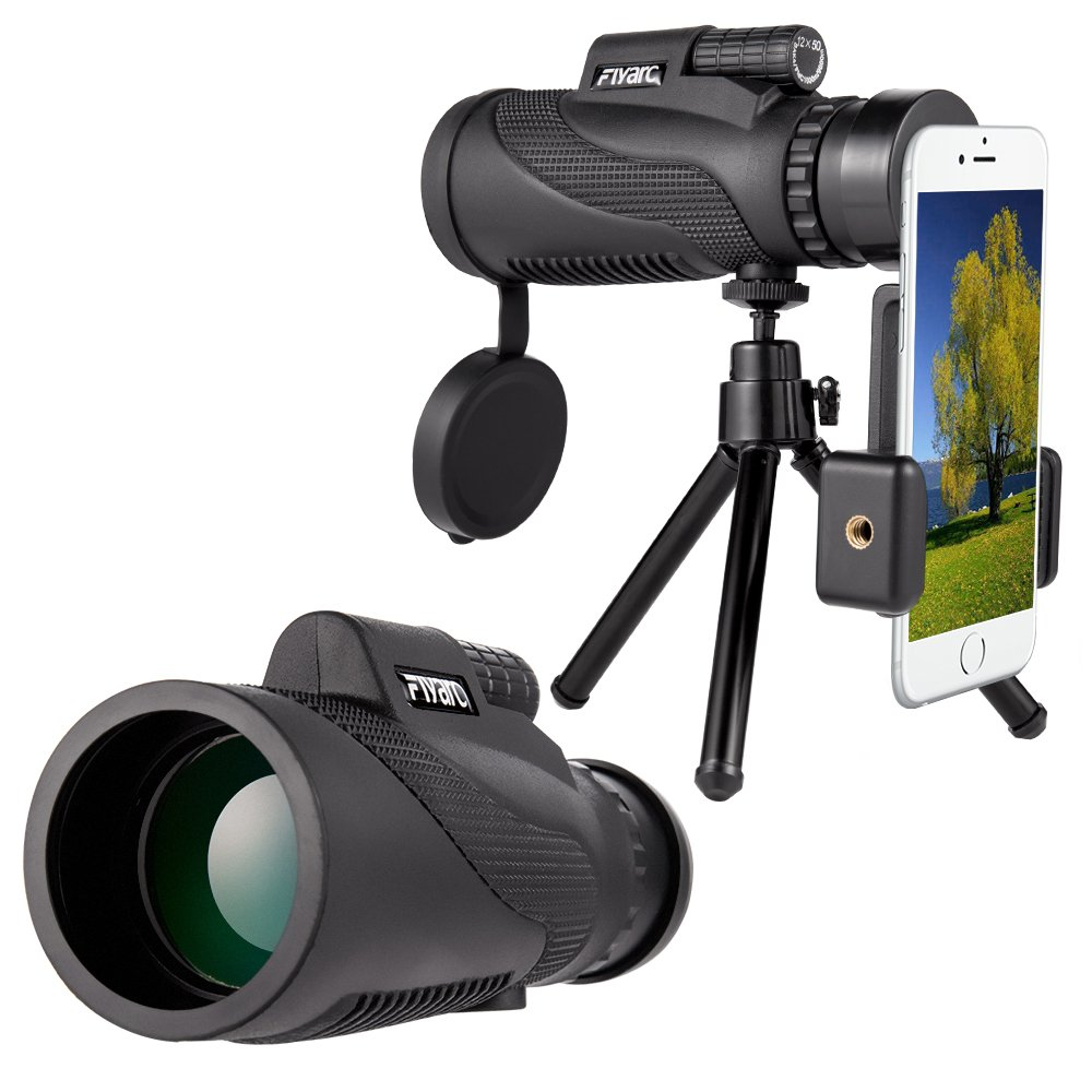 Mobile Phone Telescope,Monocular Telescope,Zoom Camera lens Low Night Vision 12X50 BAK4 Prism & FMC, Telephoto Lenses Smartphone for Land Scene Viewing Fishing Travelling Bird Watching by Longiko by Longiko