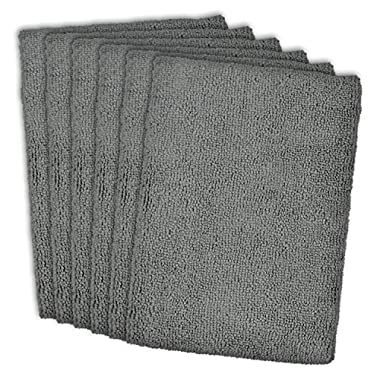 DII Cleaning, Washing, Drying, Ultra Absorbent, Microfiber Dish Towel, 16x19  (Set of 6) - Gray