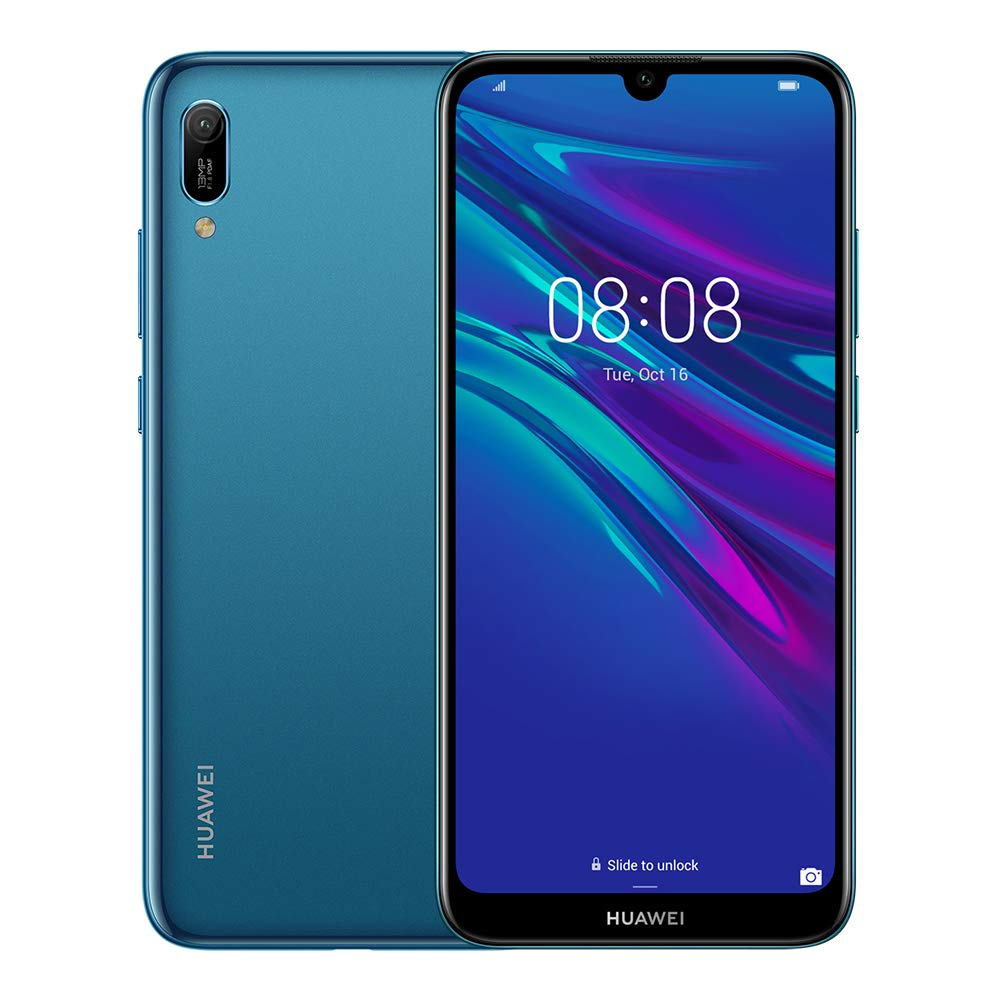 Huawei Y6 2019 32 GB 6.09 inch FullView Dewdrop Display Smartphone with 13 MP Camera, Android 9.0 Sim-Free Mobile Phone, UK Version, Sapphire Blue