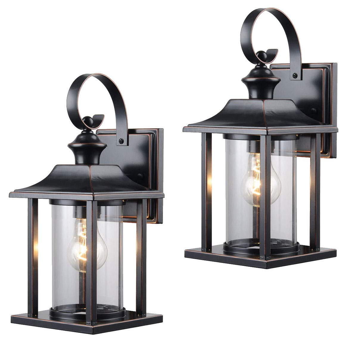 Hardware House 230582 13-1/4-by-6-Inch Aluminum Outdoor Light Fixtures, Oil Rubbed Bronze - Twin Pack