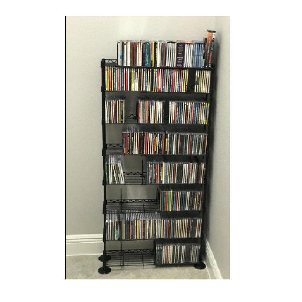 MusicCDStorageRack DVD WireShelving 8 Shelf Tier SteelMultimedia Media SteelMetal VHS Movies Holder Warehouse Adjustable Books TV Standing Office Dividers Multipurpose & eBook by OISTRIA