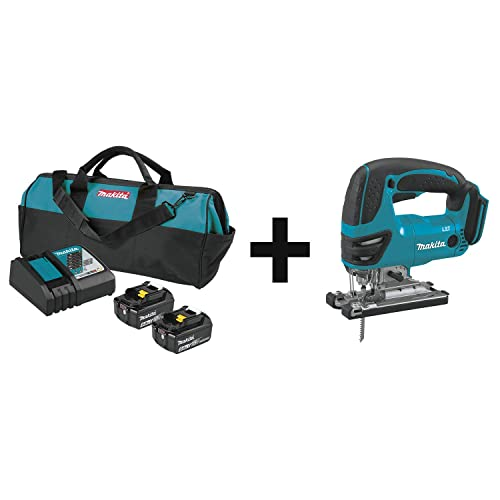 Makita BL1850BDC2X 18V LXT Lithium-Ion Battery and Rapid Optimum Charger Starter Pack 5.0Ah with XVJ03Z 18V LXT Lithium-Ion Cordless Jig Saw