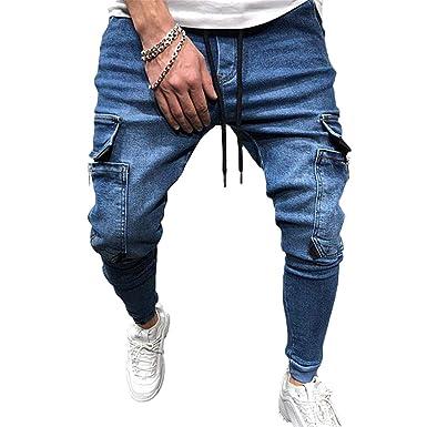 hibote Pantalones Chándal Hip Hop Hombre Pantalones Mezclilla ...