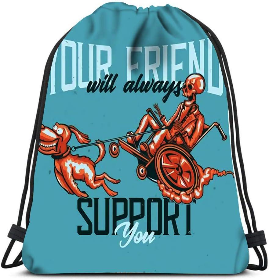 Gym Drawstring Bags Skeleton Dog Sport Storage Polyester Bag For Gym