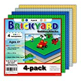 [Improved Design] 4 Baseplates, 10 x 10 Large Thick Base Plates for Building Bricks by Brickyard, for Play Table or Displaying Compatible Construction Toys (Green, Blue, Gray, Sand - 4-Pack, Assorted)