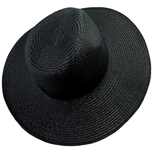Samtree Women's Foldable Beach Cap,Wide Brim Roll up Straw Sun Hat for Small Head Size (Black Straw Hat)