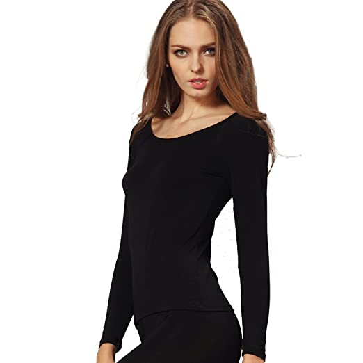 6e28e30e4000 Liang Rou Women's Plain Basic Scoop Neck Thin Stretch Long Sleeve Top Black  S XS-