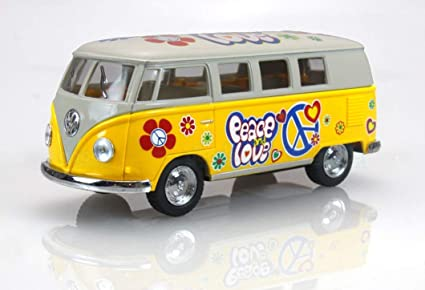 Kinsmart Volkswagen Classical Bus 1962 Surfboard 1:32 Diecast Model Bus Yellow