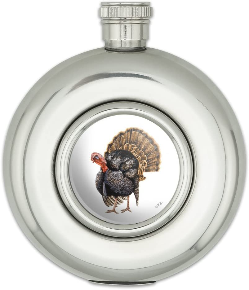 Tom the Awesome Wild Turkey Round Stainless Steel 5oz Hip Drink Flask