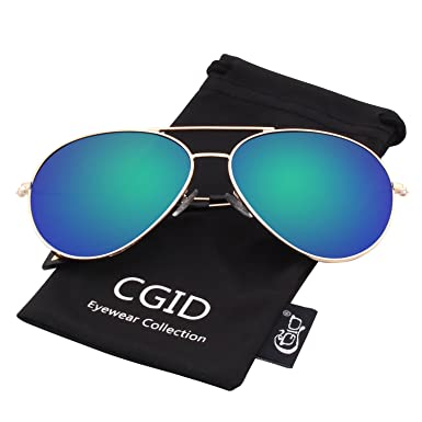 CGID Mode Flieger Metallrahmen Verspiegelt Linse Piloten Aviator Polarisierte Sonnenbrille Pilotenbrille Für Damen UV 400 Schutz CG809 1YVJn