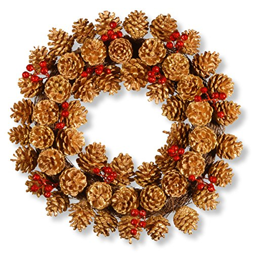 Mixed Pinecones Tree Country (National Tree 20 Inch Glittered Pinecone Wreath with Red Berries (RAHV-W060672B))