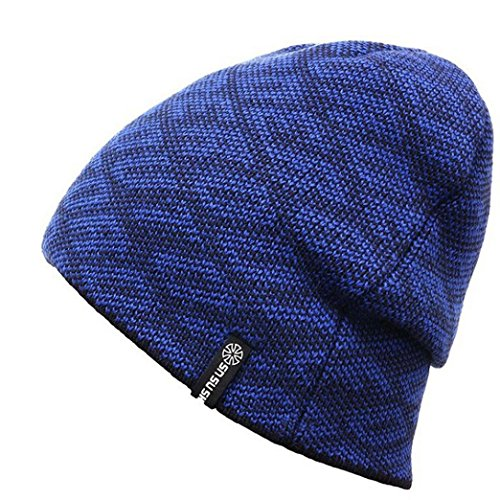 Iuhan Fashion Pure Color Unisex Winter Warm Knit Ski Crochet Slouch Hat Cap (Blue)