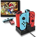 VAGHVEO Nintendo Switch Joy-Con充電スタンド ジョイコン4台同時充電可能 急速充電 指示ランプ USBケーブル付き 携帯 便利