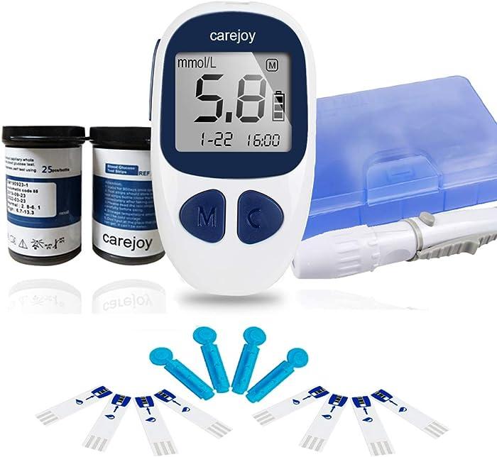 Diabetes Testing Kit Electronic, 50 Test Strips, 50 Lancets Glucose_Meter Digital Handheld Blood Monitor Diabetes Test Meter Monitor Kit (1 Device+50 Test Strips+50 Lancets)