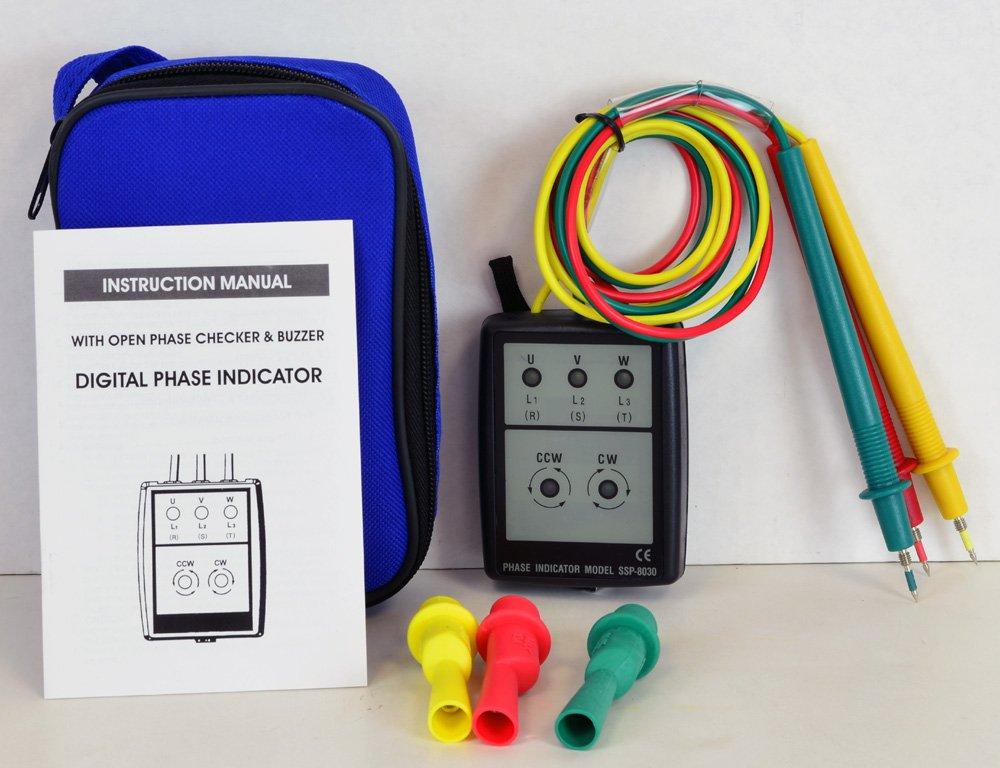 Tekpower Digital LED Phase Rotation Indicator, 20-400Hz, SSP8030 by Tekpower