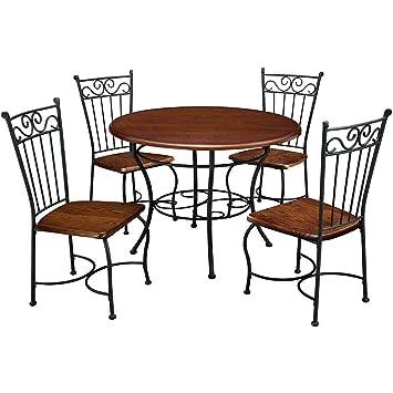 Amazon.com - NAKSHOP Round 5 Piece Dining Set with Metal ...