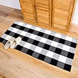 "Cheap Homcomoda Cotton Plaid Checkered Area Rug Hand Braided Kitchen Floor Rug Runner Washable Carpet (23.6"" by 51.2"", Plaid-Black and White)"