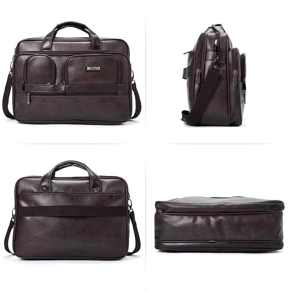 Briefcases for Men Leather 15.6 inch Laptop Bag Large Capacity Travel Business Shoulder Bag