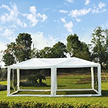 Outsunny 10'x20' Gazebo Wedding Party Tent Outdoor Canopy Garden Sun Shade with Mosquito Mesh Netting