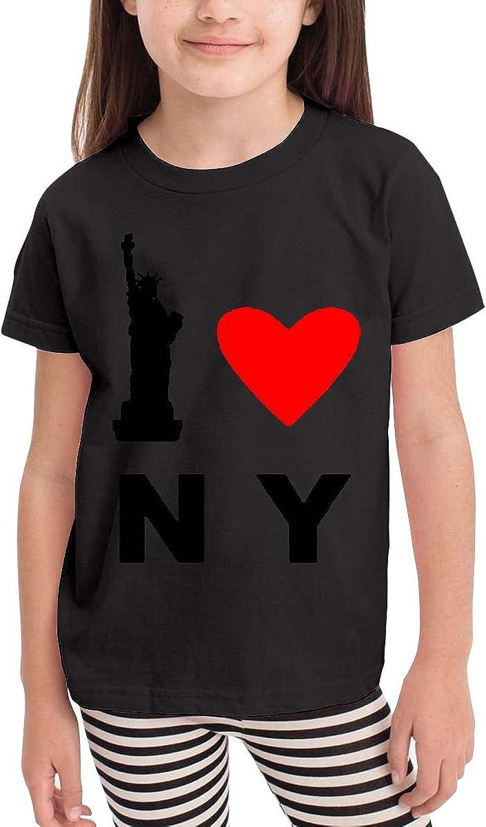 Kids T-Shirt Tops Black I Love NY Unisex Youths Short Sleeve T-Shirt
