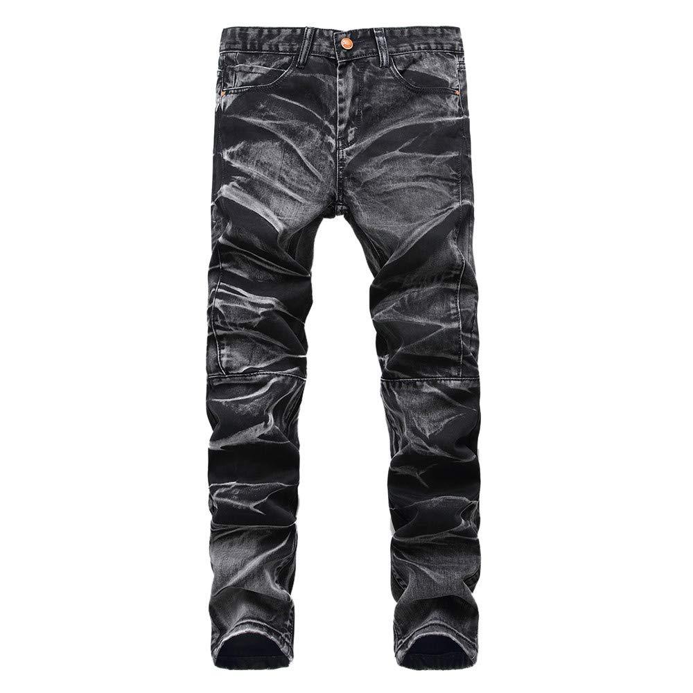 iZHH Mens Vintage Jeans Frayed Trousers Hole Denim Folds Wash Work Basic Pants(Black,40)