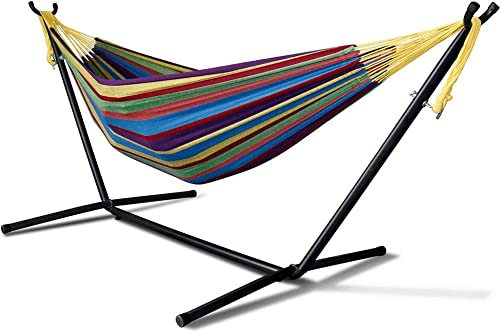 Anyow Double Hammock Two Person Adjustable Hammock Bed with Space Saving Steel Stand Includes Portable Carrying Case, Easy Set Up