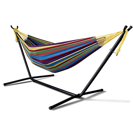 Fauean Double Hammock Two Person Adjustable Hammock Bed with Space Saving Steel Stand Includes Portable Carrying Case, Easy Set Up