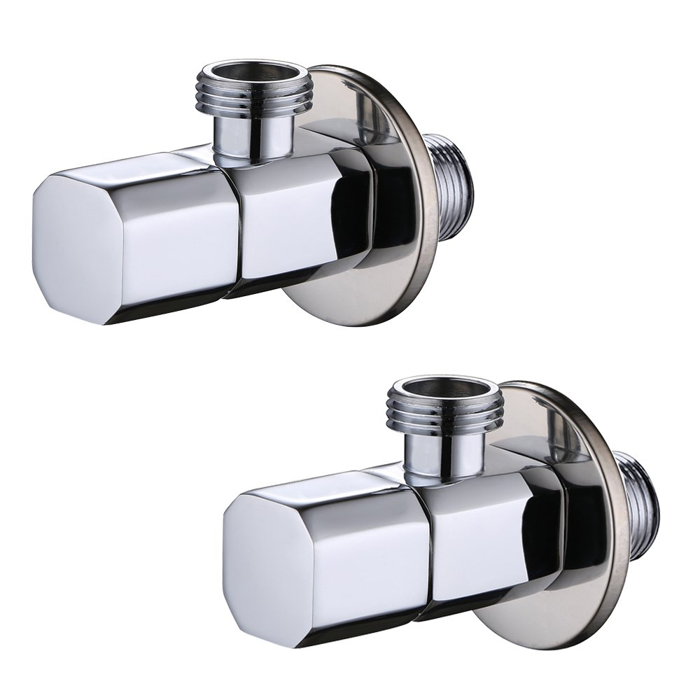 Angle Valve, Frascio Shut Off Water Angle Stop Valve for Faucet and Toilet, Wall Mounted, G1/2 Commercial 1/2¡± IPS Inlet and Outlet,Polished Chrome ,Set of 2.