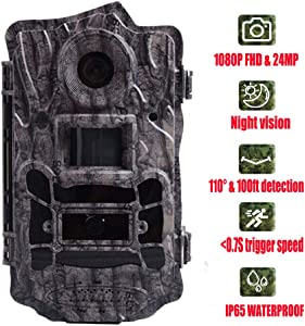 Hunting Trail Game Camera, Scouting Camera 2'' LCD 100FT Detection Range Black IR Spy Cameras Night Vision Waterproof 110° Wide Angle Lens (24MP)