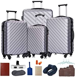 18 in 1-4 Luggage Sets, ABS Hardshell Luggage Sets with Spinner Wheels Suitcases with Travel Accessories Luggage Covers Free Gifts