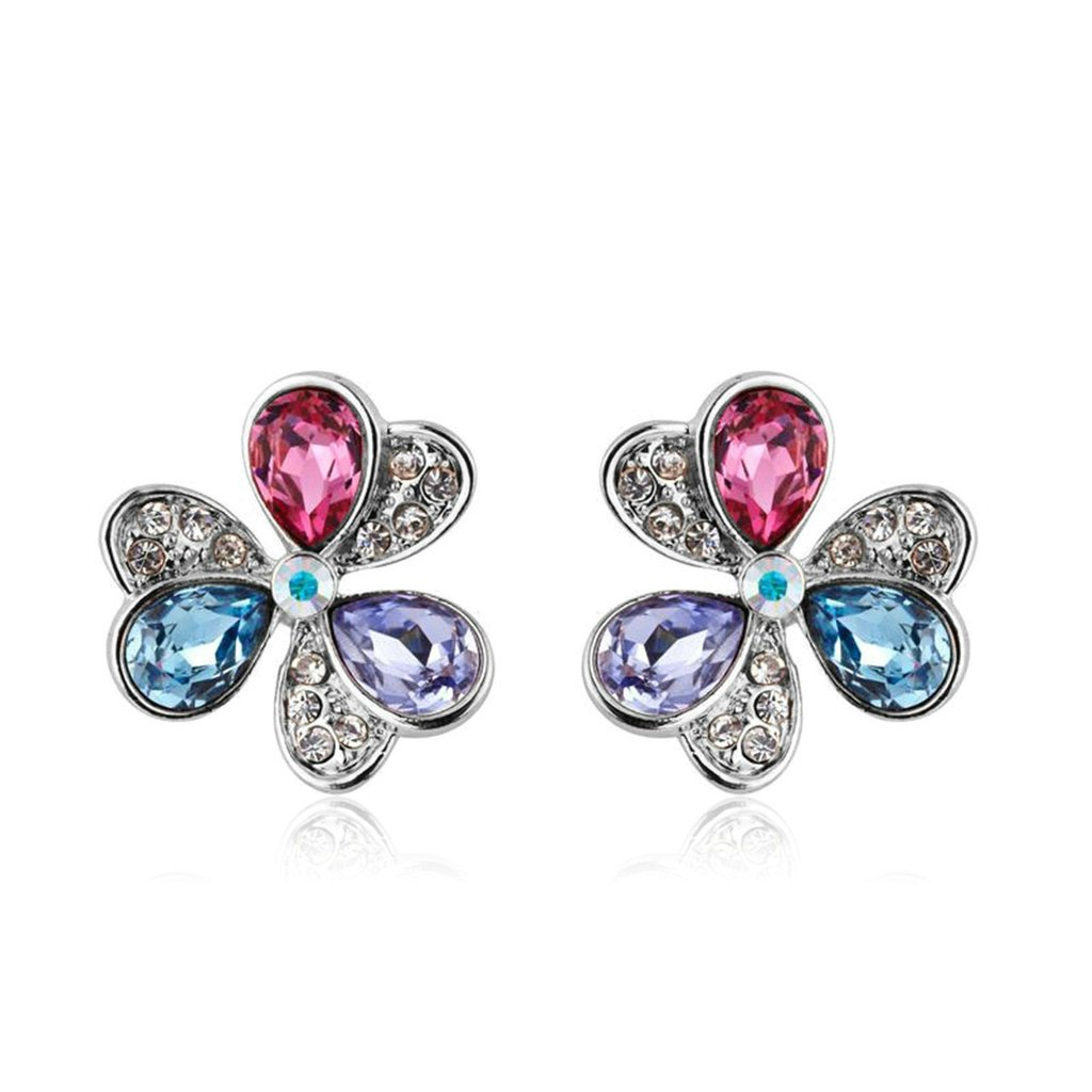 Aooaz Stud Earrings For Women Ladies, Heart 3 Leaves CZ Crystal Rhinestone Colorful Dangle Drop Earrings