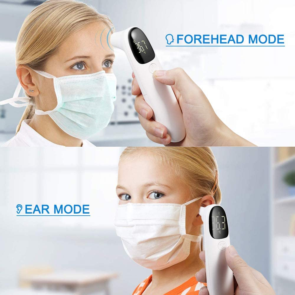 High Precision Temperature Measurement Audible Alarm ℃ //℉ LCD Digital Pedkit Non-Contact Infrared Forehead//Ear Thermometer IR Infrared Thermometer