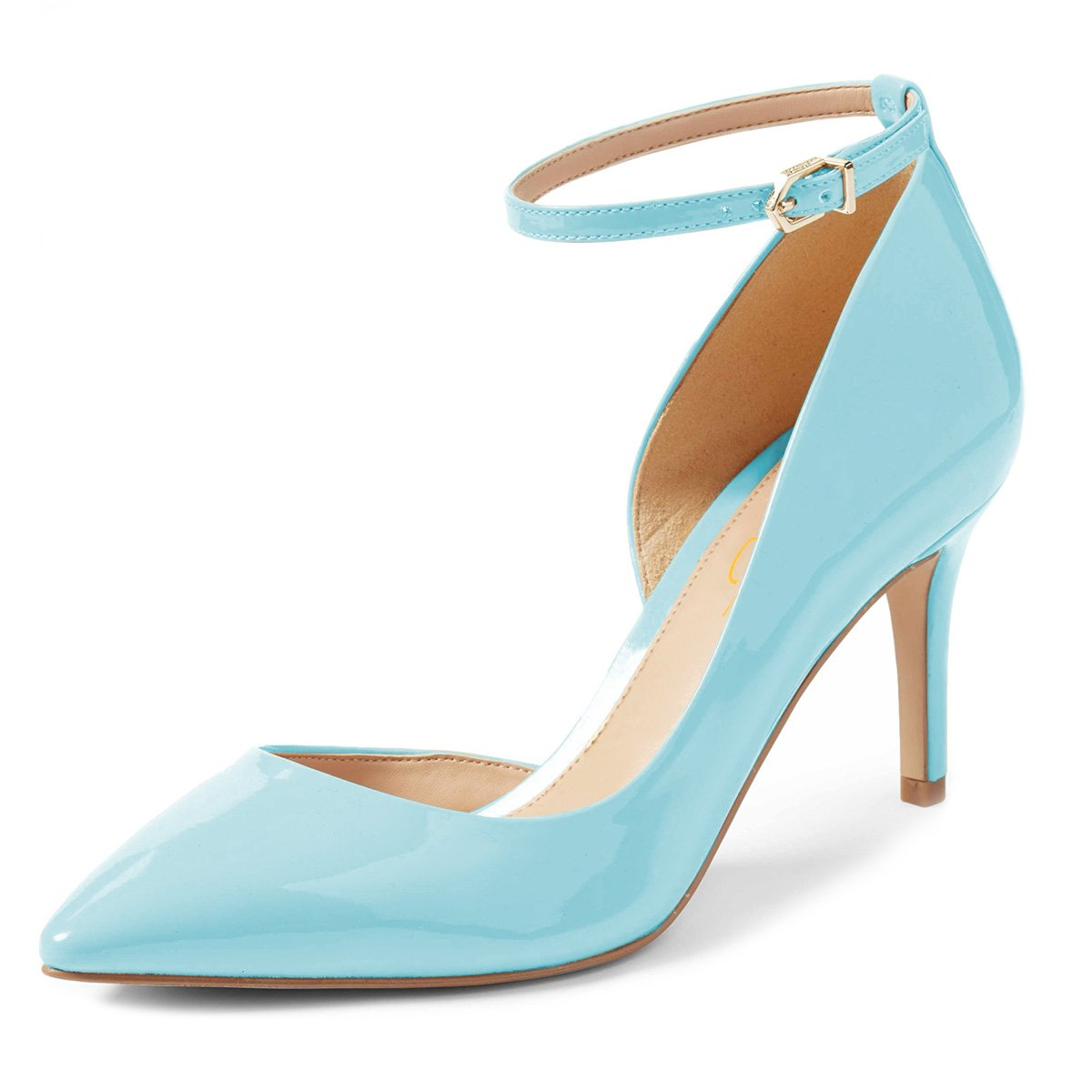 XYD Women Pointed Toe D'Orsay Mid Heel Pumps Ankle Strap Buckled Wedding Party Dress Shoes B078XPPQQP 8 B(M) US|Light Blue