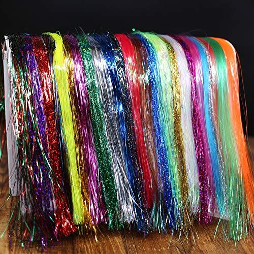 XFISHMAN Fly Tying Materials 12 Colors Krystal Flash Holographic Ripple Flashabou Flies Fishing Lure Making Supplies (24 Colors Holographic Flashabou Set D)