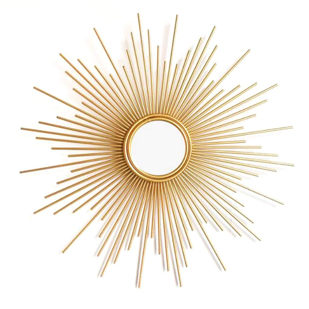 70cm GAIXIA Wall Mirror Sunburst Shaped Decorative Wall Brushed gold Sunburst Round Wall Mirror for Living Room Bathroom Bedroom and Entrance Passage Wall Mirror (Size   70cm)