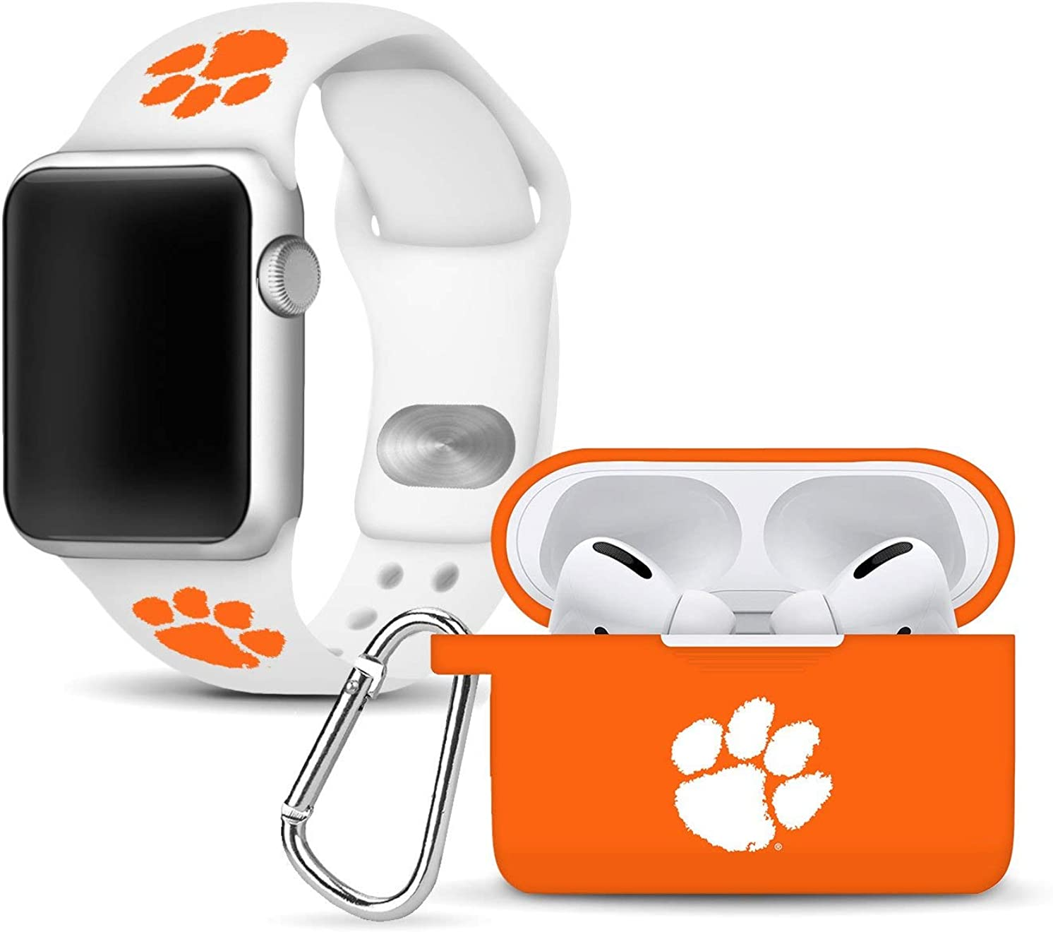 Clemson Tigers Silicone Watch Band and Case Cover Combo Package Compatible with Apple Watch and AirPods Pro Battery Case