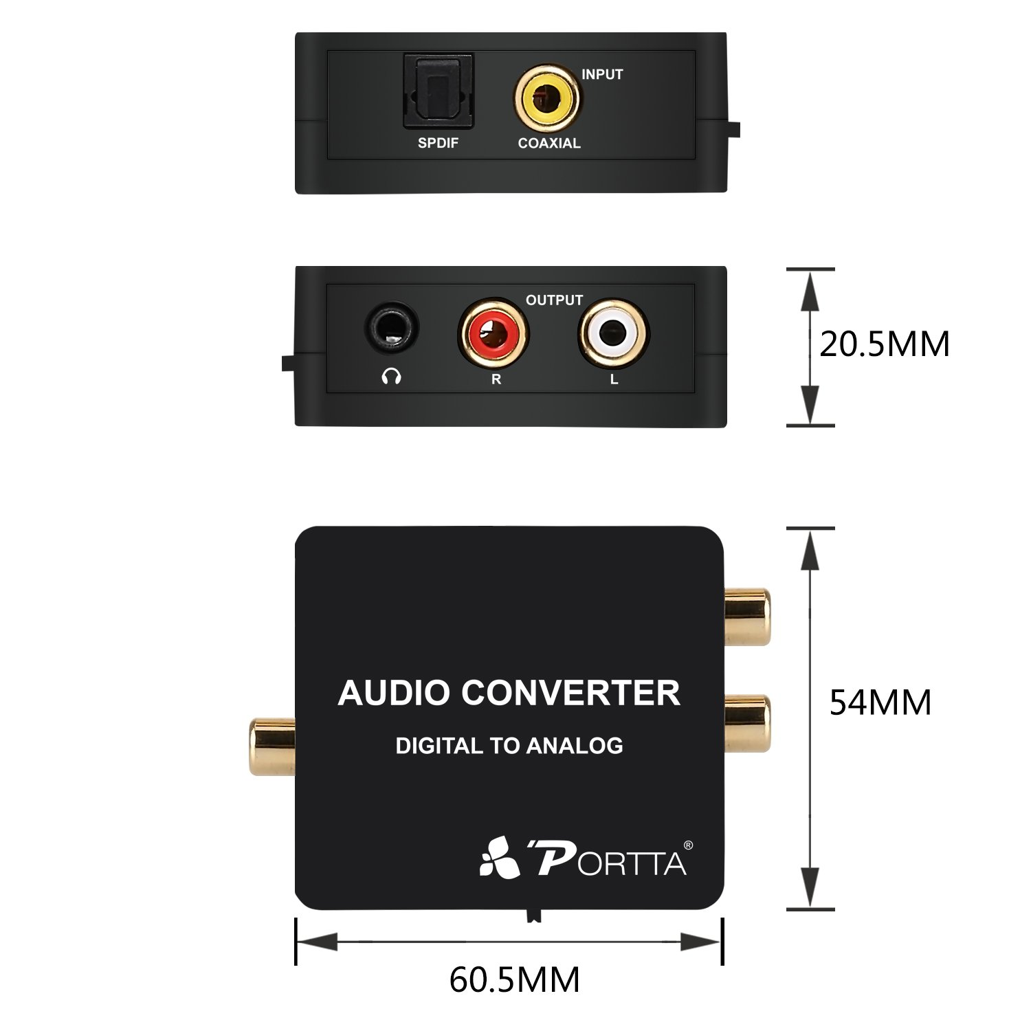 Portta Audio Converter Digital a Analógico Convertior Toslink Digital Coax to Analog RL y 3,5mm Jack Apoyar la Salida de Altavoz del Auricular: Amazon.es: ...