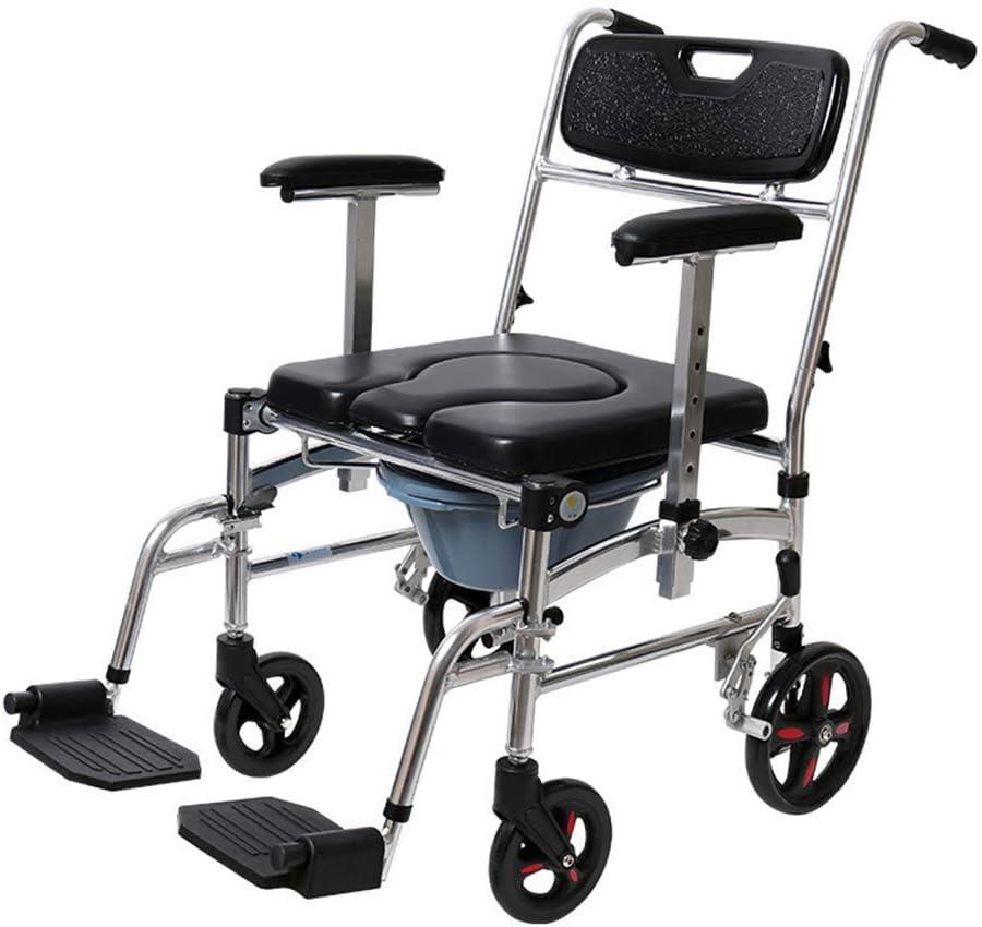 車輪付き便器椅子 - シャワーチェア防水アルミポータブルベッドサイド便器風呂トイレチェア、調節可能なシャワー輸送椅子(4輪)