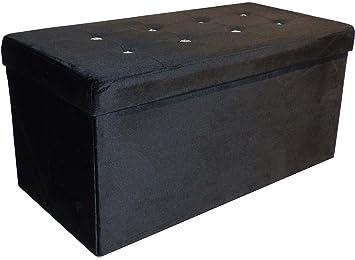 Banc Coffre De Rangement Diamant 76x38x38 Cm Noir Amazonfr