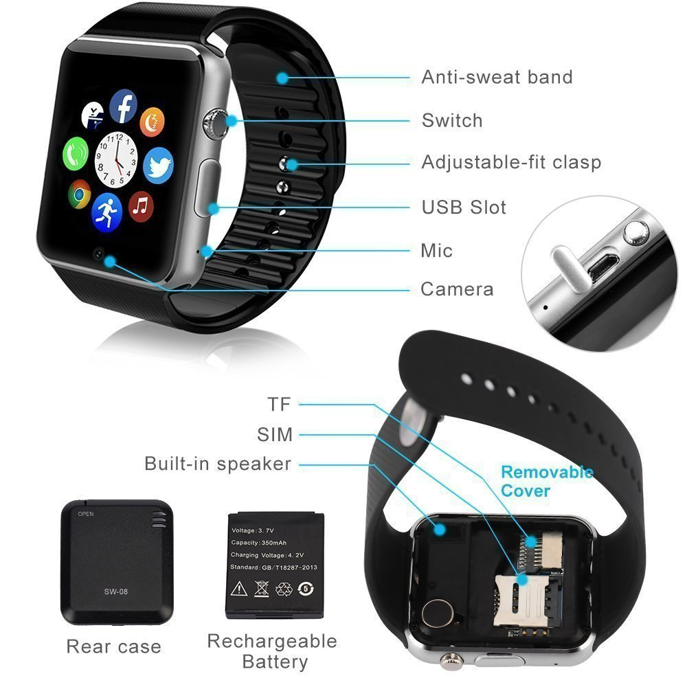 Sudroid Bluetooth Smart Watch GT08 Smart Health Wrist Watch Phone with SIM Card Slot for Android Samsung HTC LG(Full Functions) IOS iPhone 5/5s/6/plus(Partial functions) (Silver)