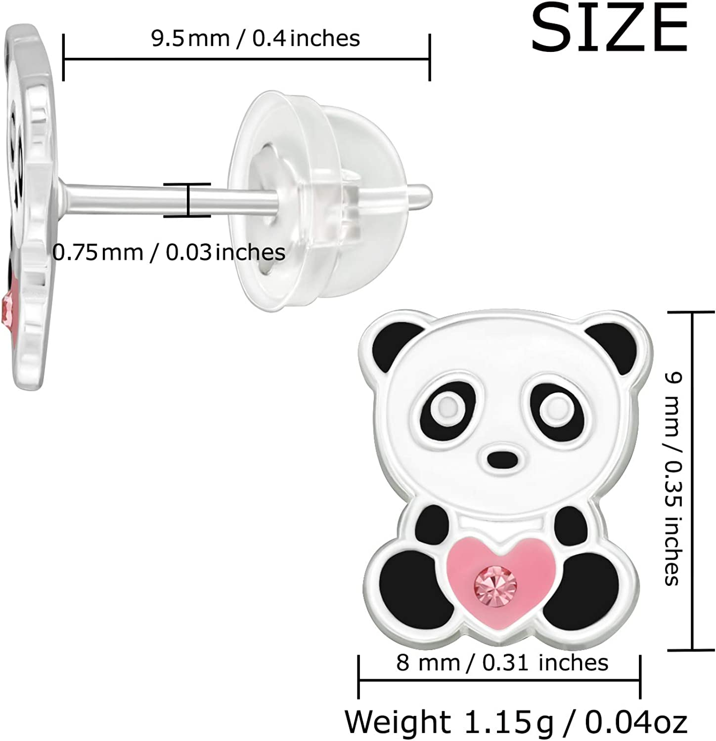 AUBE JEWELRY Hypoallergenic 925 Sterling Silver Panda Holding a Heart Stud Earrings Adorned with Crystals with Silicone Coated Push Backs for Girls and Women