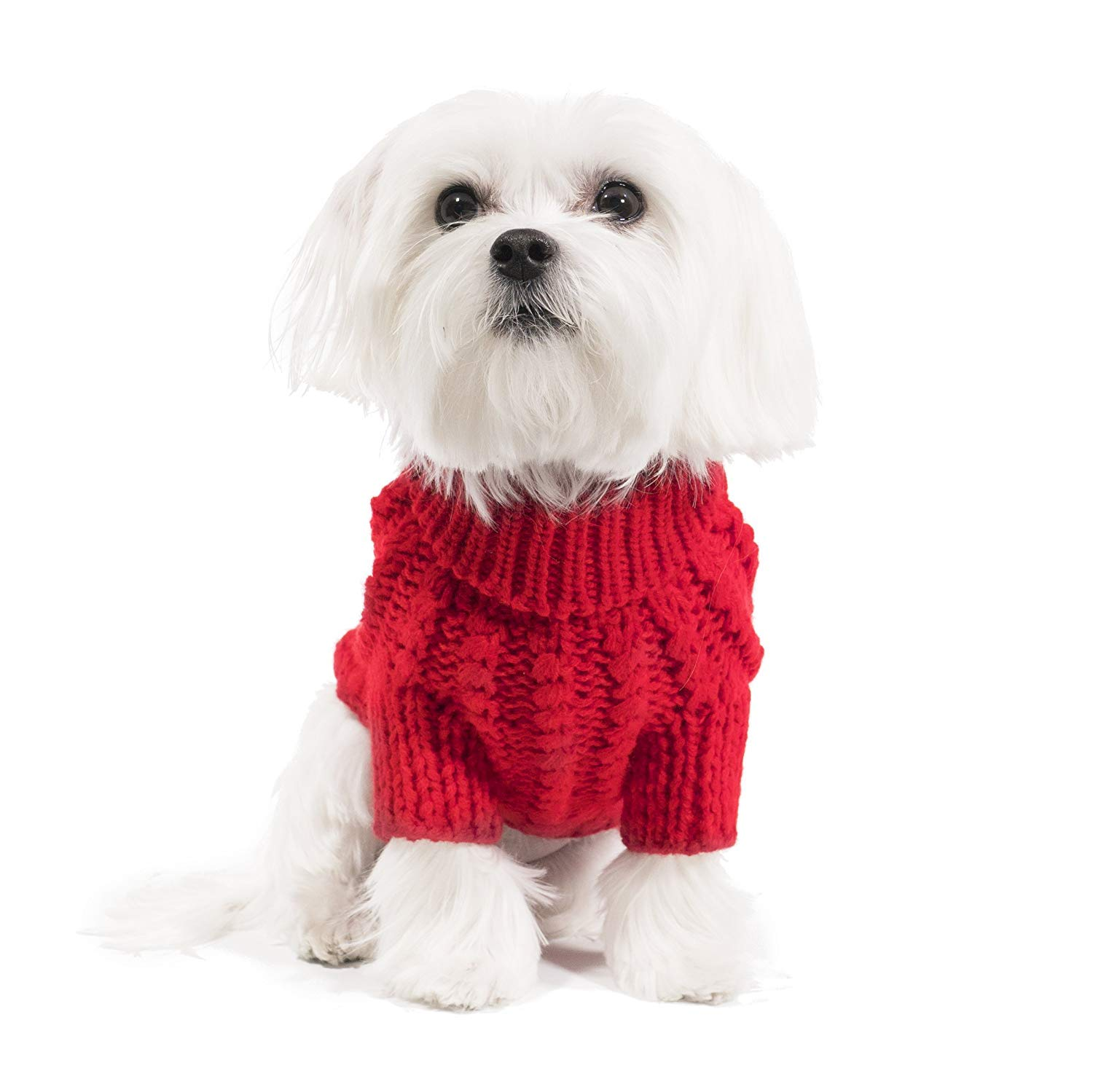 Le Petit Chien Handmade Knitwear Soft Sweater for Small Dogs or Puppies (Small, Red)