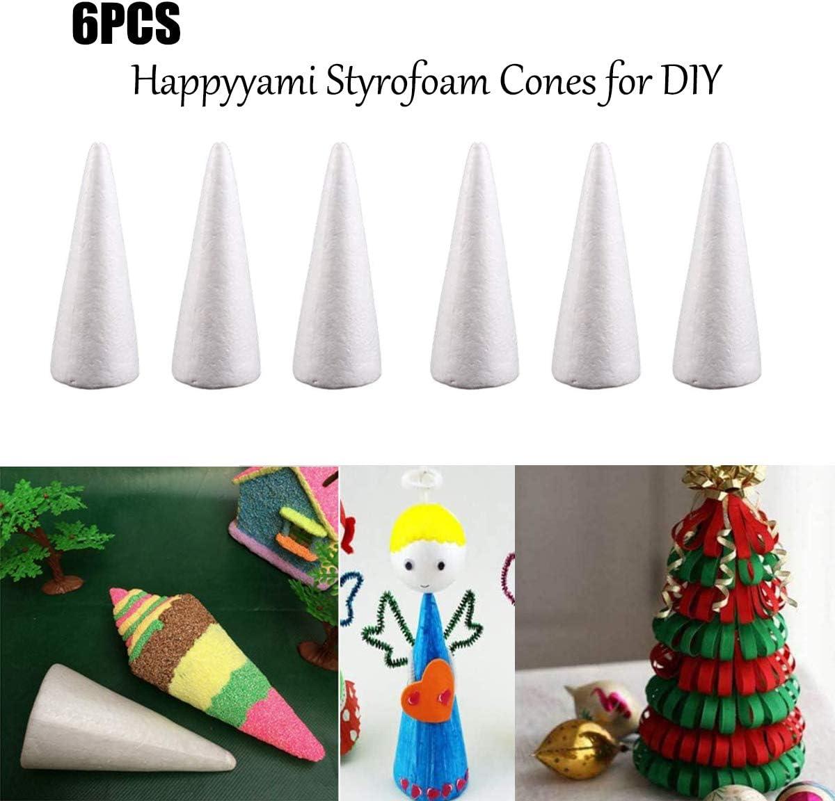 Oopsu 8Pcs White Craft Foam Cone Styrofoam Cones Christmas Tree Table Centerpiece White Creative Styrofoam Cone Shape DIY Craft Party Decoration